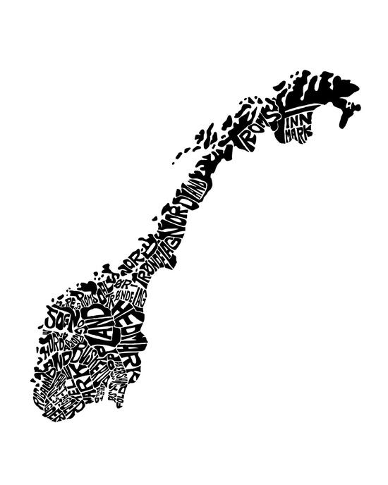 'Typographic Norway European Map Art' by CAPow!