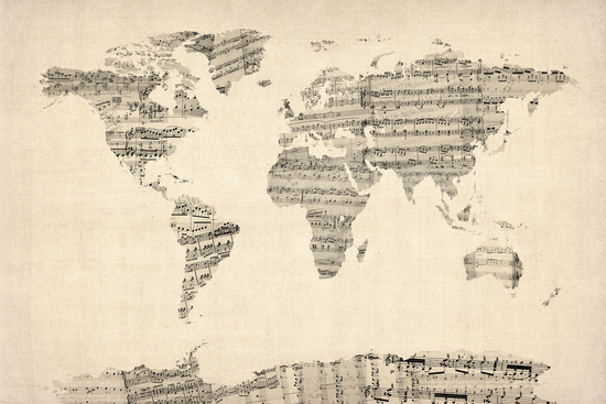 'Old Sheet Music World Map' by ArtPause